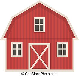 Farm building icon flat style. Isolated on white background. Vector illustration