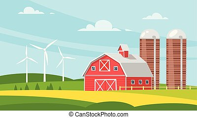Vector cartoon style illustration of farm building - barn on rural landscape. Eco wind mills on the background.