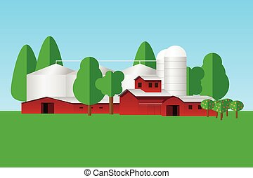 Farm buildings and trees - simple flat design
