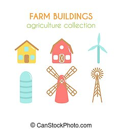 Farm buildings illustrations. Farmer house and granary. Cowshed and windmill. Wind power turbine design. Flat argiculture collection.