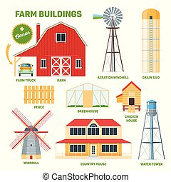 farm buildings set - Farm buildings set. Cartoon images of...