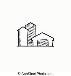Farm buildings sketch icon. - Farm buildings sketch icon for...