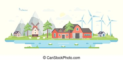 Farm by the mountains - modern flat design style vector illustration on white background. A composition with peaceful eco-friendly village with small buildings, trees, windmills, pond, sheep, a plane