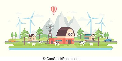Farm by the mountains - modern flat design style vector illustration on white background. Eco-friendly village with small buildings, trees, windmills, pond, cows, sheep, cars on the road, a balloon