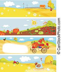 farm cards - vector illustration of a farm cards