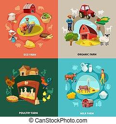 Farm Cartoon Concept Set