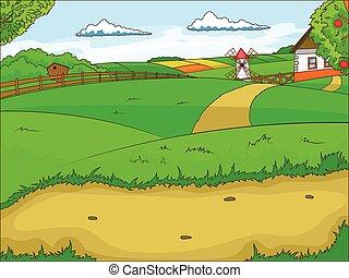 Farm cartoon educational illustration