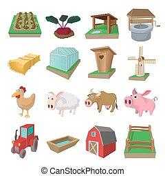 Farm cartoon icons set