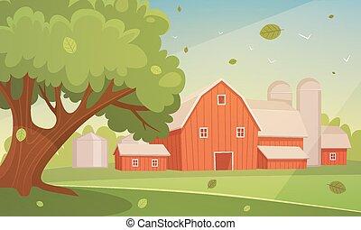Farm Cartoon Landscape - Cartoon illustration of the red...