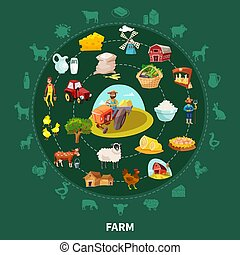 Farm Cartoon Round Composition