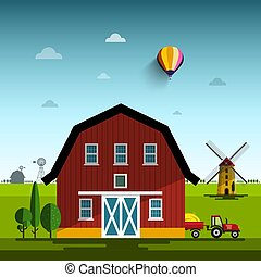 Farm Cartoon. Vector Flat Design Rural Scene with Windmills and Tractor.