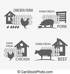 farm chicken, pork and cow