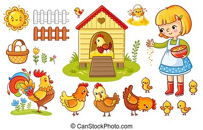 Vector set with chicken and girl.