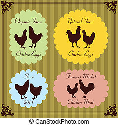 Farm chickens egg and meat labels illustration collection...