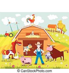 farm - vector illustration of a farm