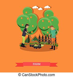 Farm concept vector illustration in flat style.