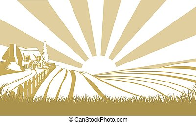 Farm cottage concept - An illustration of a farm house...