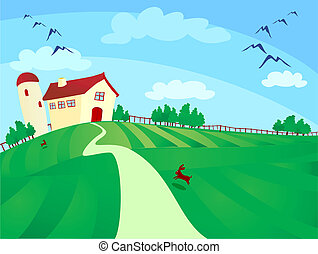 Farm - Countryside with farm and silo, vector