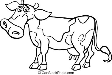 farm cow cartoon for coloring book - Black and White Cartoon...