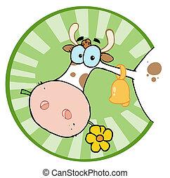 Farm Cow Munching On A Flower - Clipart Illustration-Farm...