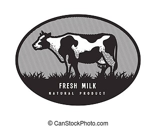 Farm dairy cow. Logo, emblem in engraved style.