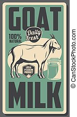 Farm dairy goat milk, cattle food products