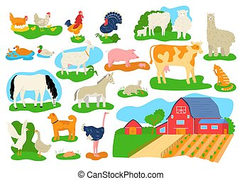 Farm domestic animals icons set isolated vector illustrations. Cow, horse, pig, goat and sheep, chicken, bull and rabbits. Barn building at farm.