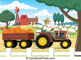 Farm - Old farmer at work. No transparency and gradients...