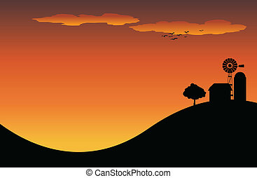 Farm - Silhouette of a farm house on top of a hill in the...