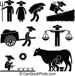 A set of pictogram showing farmer in village.