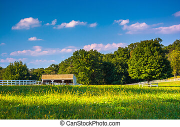 Farm field and stable in Howard County, Maryland