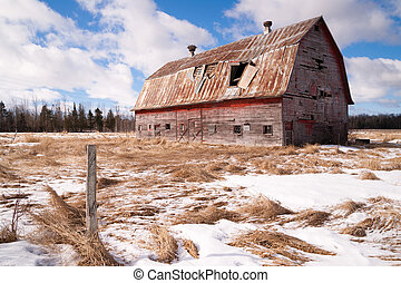 Farm Field Forgotten Barn Decaying Agricultural Structure Ranch