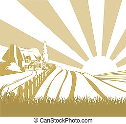Farm field landscape