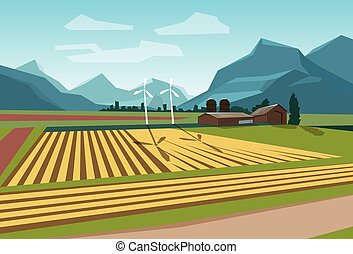 Farm Field With Wind Turbine Alternative Energy