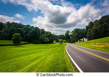 Farm fields along a country road in rural Carroll County, Maryla