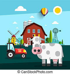 Farm fith Cow, Barn, Windmill and Tractor Vector Illustration