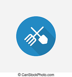 farm Flat Blue Simple Icon with long shadow