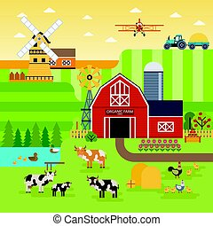 Farm flat vector landscape. Organic food concept for any design. Farm landscape illustration, banner, background with cows, chickens, garden and fields infographic elements, flat design