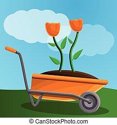 Farm flower wheelbarrow concept banner, cartoon style