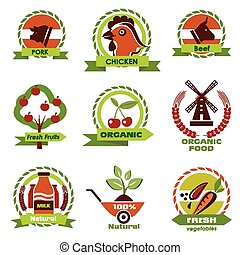 farm food, agriculture icons, labels collection, set#3