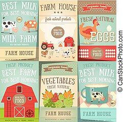 Farm Food and Agriculture Posters Set