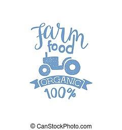 Farm Food Blue Vintage Emblem. Hand Drawn Vector Creative...