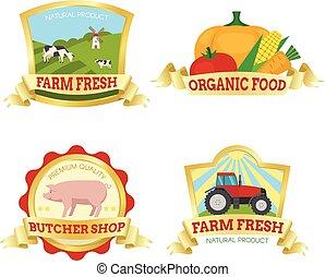 Farm Food Colorful Emblems