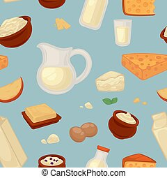 Farm food milk and cheese seamless pattern dairy products