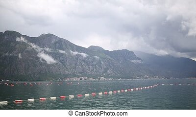 Farm for cultivation of mussels in Montenegro, in the Bay of...