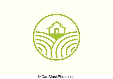 Farm fresh and landscape field Logo Designs Inspiration Isolated on White Background