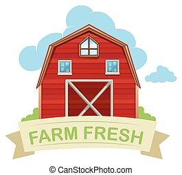 Farm fresh barn on white