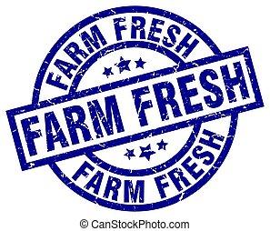 farm fresh blue round grunge stamp