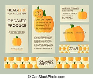 Farm Fresh business corporate identity design with pumpkin. Branding your organic company. Mock up design with shadow. Best for natural shop, organic fairs, eco markets and local companies. Vector