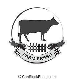 farm fresh, dairy, milk, beef, emblem, vector illustration